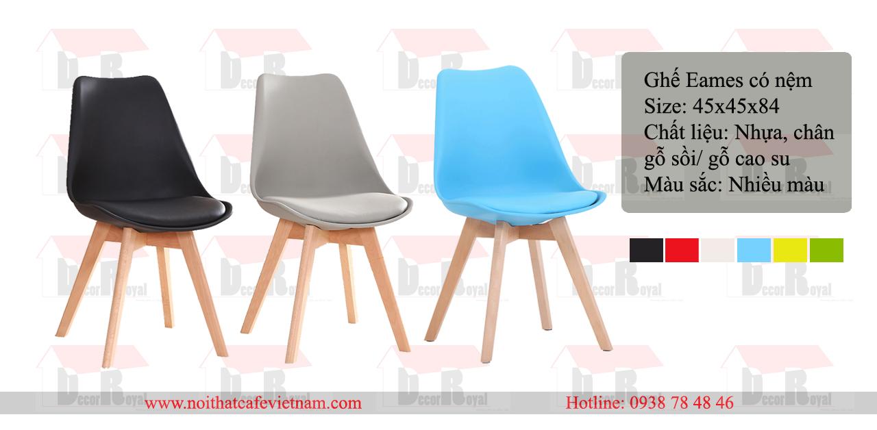 Ghế Eames chân gỗ đúc có nệm