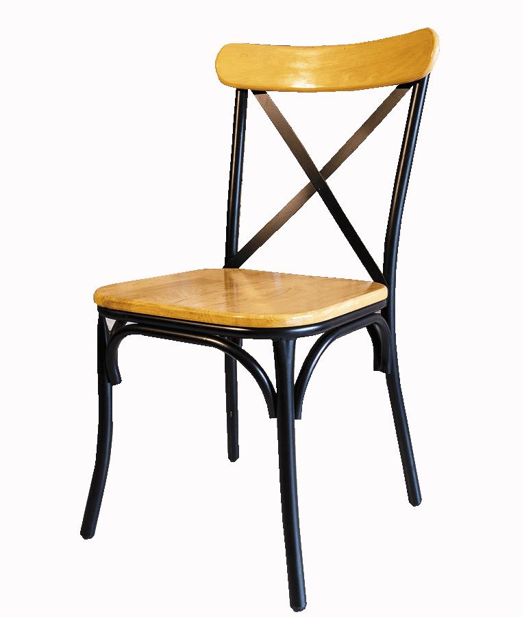 Ghế sắt cafe chữ X màu gỗ